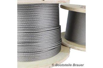 20 Metre Stainless Steel Wire Rope 7x7 fi-sls Steel Diameter 3 mm A4 Stainless Steel – Stainless Steel – Medium
