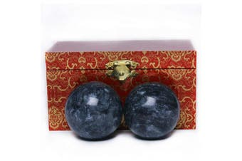 (500.0 Grams) - 5.1cm Chinese Marble Dark Grey Baoding Balls Health Stress Relieve Hand Exercise