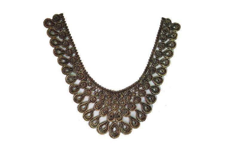 (Color F) - Elegant 1Pc 30cm X 28cm Gold Lace Neckline Applique Lace Trim Lace Fabric for Costume Sewing Applique Crafts Venise Lace