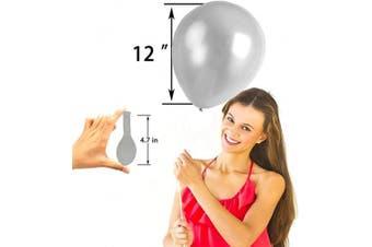 (12 Inch / 30 cm, Silver) - AZOWA Silver Balloons 30cm Pack of 100 Grey Latex Balloon