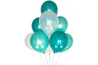 (12 Inch / 30 cm, White Teal Turquoise) - AZOWA White Teal Turquoise Latex Balloons 30cm Party Decorations Balloons Pack of 100 for Birthday Party Festival Celebrate Decorations