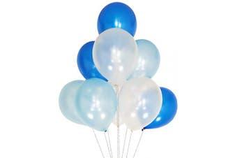 (12 Inch / 30 cm, White Blue Royal) - AZOWA White Blue Royal Balloons 30cm Party Latex Balloon Pack of 100
