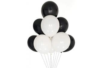 (12 Inch / 30 cm, White Black) - AZOWA White and Black Latex Balloons 30cm Party Decorations Pack of 100 Balloons Great for Birthday Party Baby Shower Wedding Celebrate Decorations