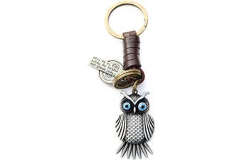 (Dark Owl) - AuPra Dark Owl Leather KeyRing Gift Women & Men Best Friend Home Bird KeyChain Mum & Dad Teacher Handbag Charm Key Ring Girl & Boy Car Pendant
