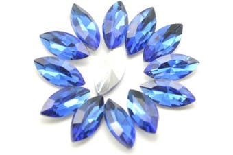 Catotrem 7x15mm Horse Eye Shape Crystal Clear Glass Rhinestones Pointback Fancy Stones Inlay for Necklace Wedding Dress Decorations(50pcs-Blue)