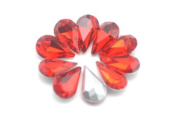 (Red) - Catotrem Crystal Clear Teardrop Loose Rhinestones Silver Plated Rhinestones Glass Decor Crafts 6x10mm(60pcs-Red)