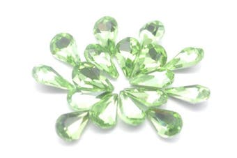 (Green) - Catotrem Crystal Clear Teardrop Loose Rhinestones Silver Plated Rhinestones Glass Decor Crafts 6x10mm(60pcs-Green)