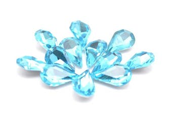 (River Blue) - Catotrem Crystal Clear Teardrop Loose Rhinestones Silver Plated Rhinestones Glass Decor Crafts 6x10mm(60pcs-River Blue)