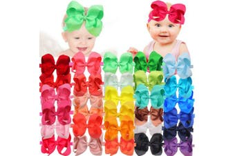(30 Pieces) - 30 Pieces/Colours Handmade 15cm Grosgrain Ribbon Hair Bows Headbands for Baby Girls Infant Toddlers and kids