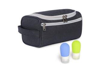 (dark gray) - Zeamoco Toiletry Organiser Hanging Shower Bag for Men Women Handy Dopp Kit with 2 Travel Bottles for Bathroom Gym Shaving Vacation Gift - Dark Grey
