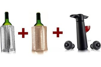 (Black pump + 2 Active wine coolers) - Vacu Vin Wine Saver Pump with 2 x Vacuum Bottle Stoppers - Black (Black pump + 2 Active wine coolers)