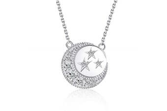 BlingGem Silver Necklace for Women in White Gold Plated 925 Sterling Silver Round Zirconia Crescent Moon and Star Beginnings Necklace 18''