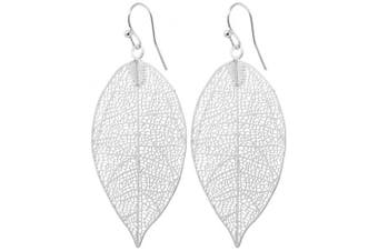 (Silver) - 2LIVEFOR Long Leaf Earrings Modern Abstract Style Black Grey Antrazit Black Filigree Drop Earrings Pearl Drop Earrings Long Pendant Drop Earrings Hanging Black Leaves