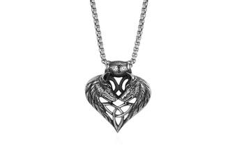 Cupimatch Wolf Head Heart Celtic Knot Amulet Pendant Necklace Chain Jewellery 60cm