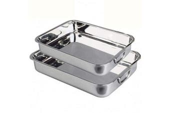 MGE - Set of 2 Roasting Baking Tins Trays with Handles - Oven Roasting Tin with Handles - Stainless Steel Roasting Oven Baking Tins Trays - Roasting Pan