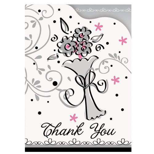 (Thank You Notes) - Wedding Style Thank You Note Cards, 8ct Style Name: Thank You Notes Thank family and loved ones for helping celebrate your big day with our Wedding Style Thank You Notes! This package of 8 Wedding Style Thank You Notes comes with 8 envelopes for easy mailing and each thank you card features a beautiful wedding bouquet design. Wedding Style Thank You Notes feature blank space on the inside to write personalised messages to guests, thanking them for coming to your wedding, engagement party, or bridal shower. Coordinate these thank you cards with other Wedding Style wedding supplies and solid colour wedding decorations to create a memorable atmosphere on your big day. Wedding Style Thank You Notes are sold in a package of 8 and each card measures 14cm x 10cm .