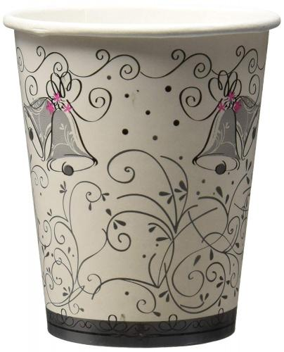 (Party Cups) - 270ml Wedding Style Paper Cups, 8ct Style Name: Party Cups Brown and pink details make a winning combination on these wedding style paper cups. Use them to serve hot and cold beverages at a bridal shower, engagement party, or wedding reception. These paper cups feature wedding bells, silver swirls, and trios of bright pink flowers.