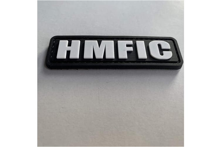(Black and White) - HMFIC Patch Hook Fastener Backing Head Mother Fker in Charge 8cm x 2.5cm PVC Morale Patch (Black and White)