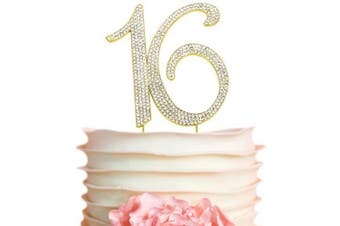 (16 Gold) - Premium Metal Sweet 16 Birthday Gold Rhinestone Number Cake Topper. Beautiful 16th Bday Party Keepsake and Decoration. Sparkling, Crystal and Diamond Style Bling Is a Great Centrepiece (16 Gold)