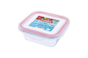 Pyrex Cook & Click - 0.8L Square Food Storage Container with Clip Lock Plastic Lid