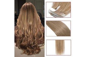(50cm  100g, #27 Dark Blonde) - 30cm - 60cm Blonde Human Hair Extension Tape in 100% Real Hair Piece 40PCS 100g Full Head Straight Skin Weft Remy Hair (50cm #27 Dark Blonde)