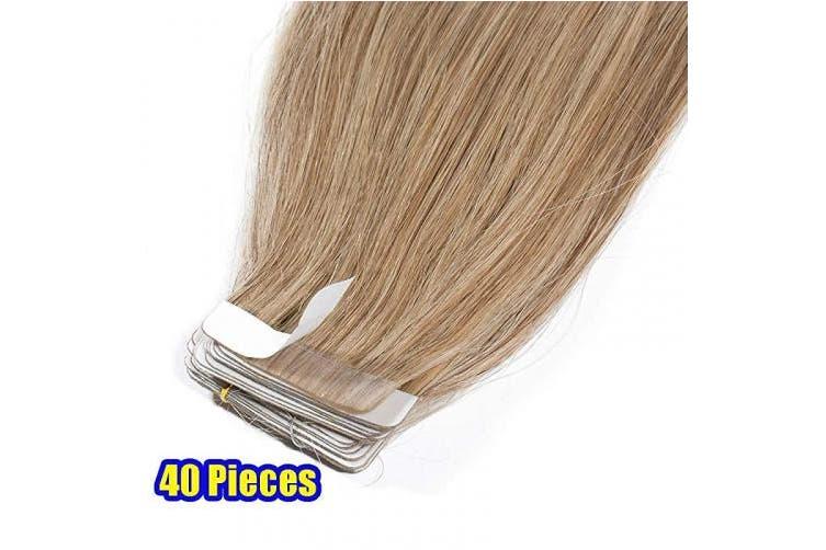 (36cm  80g, #27 Dark Blonde) - 30cm - 60cm Tape Extension 100% Real Remy Human Hair Blonde Hair Extensions 40 pieces Straight Skin Weft Seamless (36cm #27 Dark Blonde)
