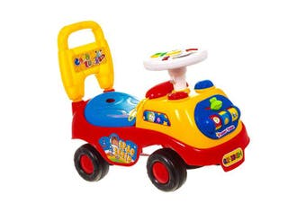 (Red) - ADEPTNA Push Along My First Ride On Car Kids Toy Cars Boys Girls- First Steps Toddler Walker Learning Toy- Push Button Horn With Sound- Fun And Colourful Ride for Your Toddler (RED)