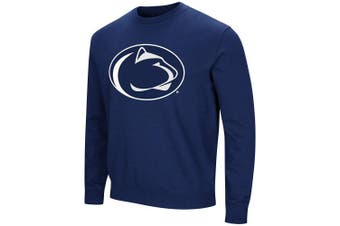 (Large, Penn State Nittany Lions-Navy) - Colosseum NCAA Men's -Playbook- Crewneck Fleece Sweatshirt Tackle Twill Embroidered Lettering-Team Colours
