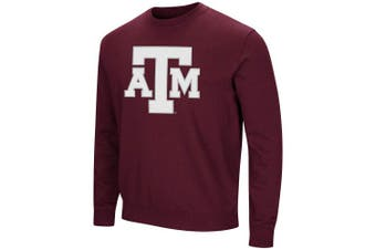 (Large, Texas A&M Aggies-Maroon) - Colosseum NCAA Men's -Playbook- Crewneck Fleece Sweatshirt Tackle Twill Embroidered Lettering-Team Colours
