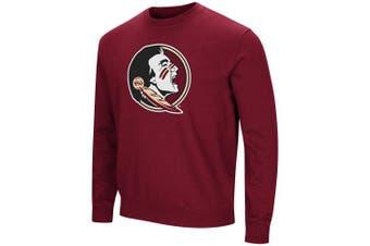 (X-Large, Florida State Seminoles-Garnet) - Colosseum NCAA Men's -Playbook- Crewneck Fleece Sweatshirt Tackle Twill Embroidered Lettering-Team Colours