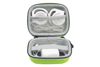 (Green) - Iksnail Headphone Ear Bud Earphone Case with Carabiners Mini Storage Carrying Pouch Organiser Bag for Wireless Bluetooth Headphone - Charger - USB Flash Drive - USB Cable(AirPods,Bose,Beats,Sony)Green