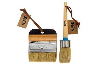 1st Place Chalked Finish Paint & Wax Pure Bristle Brush Set - 3.8cm Round Brush & 10cm Flat Brush - 2 Piece Set