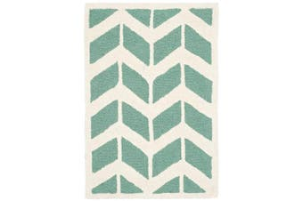 (0.6m x 0.9m, Teal/Ivory) - Safavieh Cambridge Collection CAM718T Handcrafted Moroccan Geometric Teal and Ivory Premium Wool Area Rug (0.6m x 0.9m)