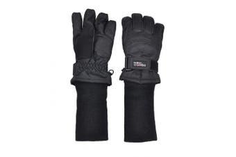 (Medium Ages 8-12, Black) - SnowStoppers Waterproof Ski & Snowboard Winter Kids Gloves