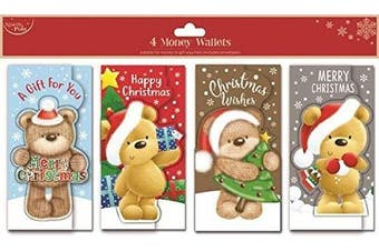 North Pole - 4 x Money Gift Card Wallets, Christmas Xmas Teddy Bear Designs