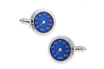 Ashton and Finch Silver and Blue Speedometer Cufflinks in a Free Luxury Presentation Box. Novelty Transport Theme Jewellery