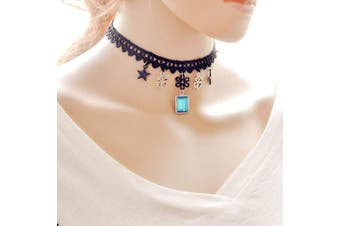 Lace Choker with Stars, Clovers and Blue Diamante Stone Fashion Choker Necklace