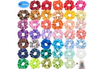 (Satin-40 Colors) - Satin Scrunchies for Hair 40 Colours, EAONE Glossy Hair Scrunchies Elastic Hair Ties Ponytail Holder Headbands for Women Girls, 40 Pieces