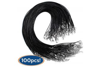 Bastex 100 Pieces of Waxed Necklace Cord with Clasp. Perfect for Bracelet, Necklace and DIY Jewellery Making. 20 Inches Long, 1.5mm Thickness. Single Colour Black Bulk