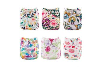 (Flowers) - Babygoal Cloth Nappy Cover for Girls,Baby Adjustable Reusable Covers for Fitted Nappies and Prefolds, Baby Girl Clothes, 6pcs Nappy Covers+One Free Wet Bag 6DCF04