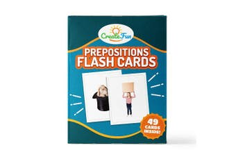 (Prepositions Vol 1) - CreateFun Preposition Flash Cards - 49 Educational Photo Cards - 5 Learning Games, 7 Total Prepositions - for Parents, Teachers, Speech Therapy Materials and ESL Teaching Materials