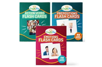 (Bundle: EPV) - Prepositions, Emotions & Verbs Flash Cards Gift Set - 149 Educational Photo Cards with Learning Games - for Toddler, Preschool Prep, Adults, Speech Therapy Materials and ESL Teaching Materials