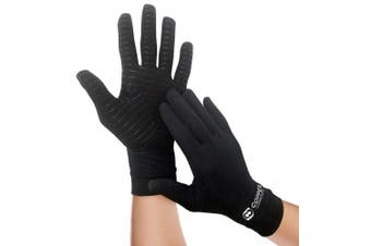(X-Large) - Copper Compression Arthritis Full Finger Recovery Gloves - Highest Copper Content GUARANTEED & Highest Quality Copper! Infused Fit Wear It Anywhere - PAIR of Gloves (X-Large)