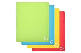 """Extra Thick Flexible Plastic Cutting Board Mats With Food Icons & """"EZ-Grip"""" Waffle Back, set of 4 For Kitchen & Bar"""