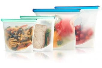 FLEX & LOCK Reusable Silicone Food Storage Bags 4 pcs Eco-Friendly Clear BPA-Free Microwave Freezer Dishwasher Safe bag resealable ziplock bags non plastic pouch for Lunch sandwich fruits Meal snack