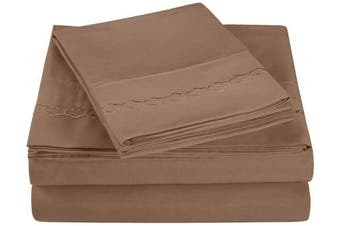 (Queen, Taupe) - Super Soft Light Weight, 100% Brushed Microfiber, Queen, Wrinkle Resistant, 4-Piece Sheet Set, Taupe with Cloud Embroidery