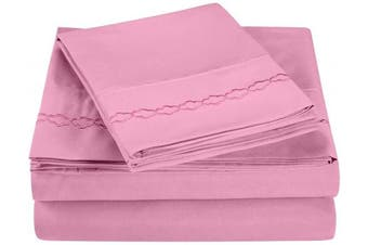 (Twin, Pink) - Super Soft Light Weight, 100% Brushed Microfiber, Twin, Wrinkle Resistant, 3-Piece Sheet Set, Pink with Cloud Embroidery