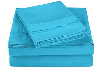 (Queen, Aqua) - Super Soft Light Weight, 100% Brushed Microfiber, Queen, Wrinkle Resistant, 4-Piece Sheet Set, Aqua with Cloud Embroidery