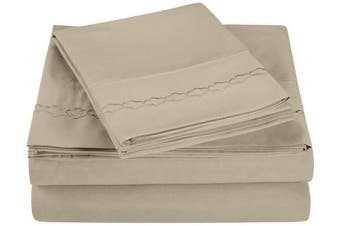 (California King, Tan) - Super Soft Light Weight, 100% Brushed Microfiber, California King, Wrinkle Resistant, 4-Piece Sheet Set, Tan with Cloud Embroidery