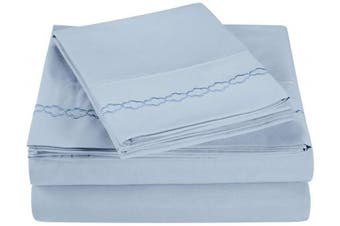 (Queen, Light Blue) - Super Soft Light Weight, 100% Brushed Microfiber, Queen, Wrinkle Resistant, 4-Piece Sheet Set, Light Blue with Cloud Embroidery